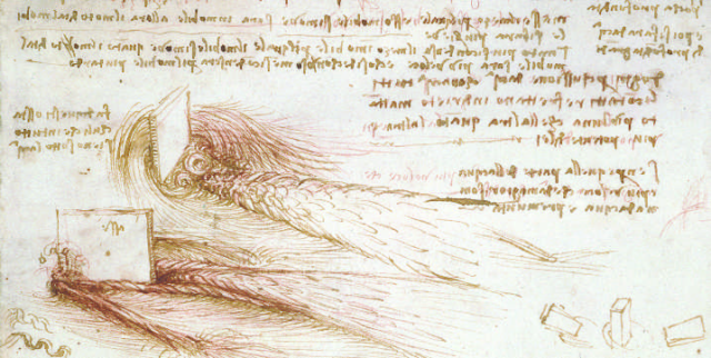 "One of the first to visualize these flows was scientist, artist, and engineer <a href=""http://www.bbc.co.uk/history/historic_figures/da_vinci_leonardo.shtml"">Leonardo da Vinci</a>, who combined keen observational skills with unparalleled artistic talent to catalog turbulent flow phenomena. Back in 1509, Leonardo was not merely drawing pictures. He was <a href=""http://nautil.us/issue/15/turbulence/the-scientific-problem-that-must-be-experienced"">attempting</a> to capture the essence of nature through systematic observation and description. In this figure, we see one of his studies of wake turbulence, the development of a region of chaotic flow as water streams past an obstacle."