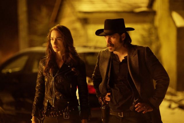 It's complicated: Wynonna has an on-again/off-again relationship with an ageless Doc Holliday (Tim Rozon).