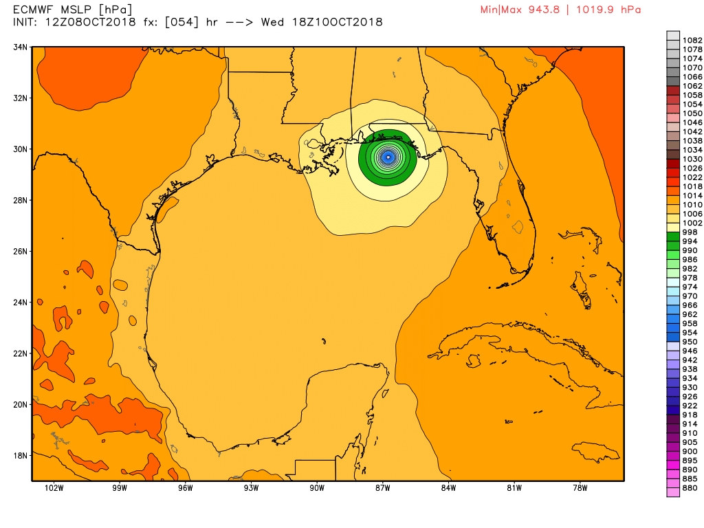 12z European model forecast for Hurricane Michael's position at 2pm ET on Wednesday.
