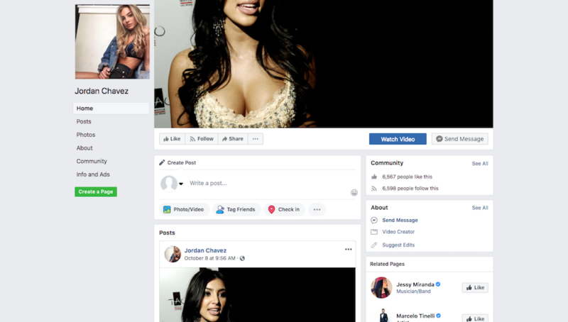 A partial screenshot of one of the profiles pushing an adult dating scam on Facebook.