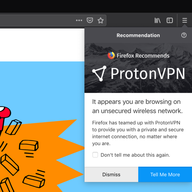 The promotion of ProtonVPN within Firefox.