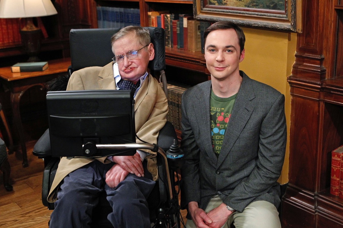 When not stumping physicists with paradoxes, Hawking liked to make cameos on popular TV shows. Here he is on the set of <em>The Big Bang Theory</em> with Sheldon Cooper (Jim Parsons).