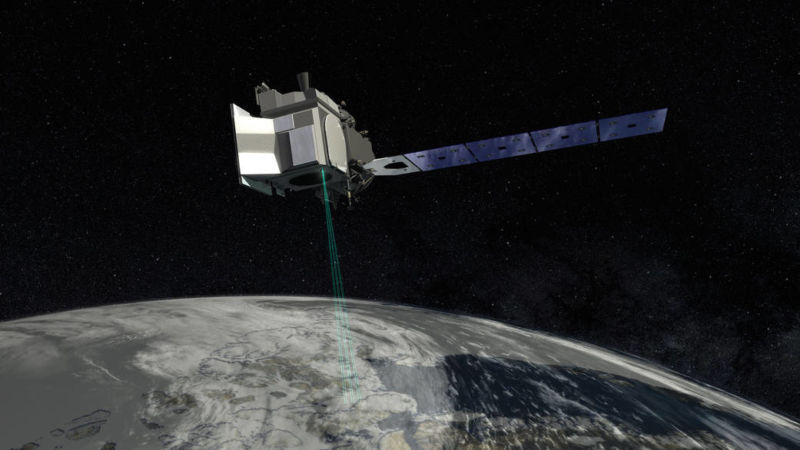 That's no moon—it's an artist's conception of ICESat-2 in orbit.