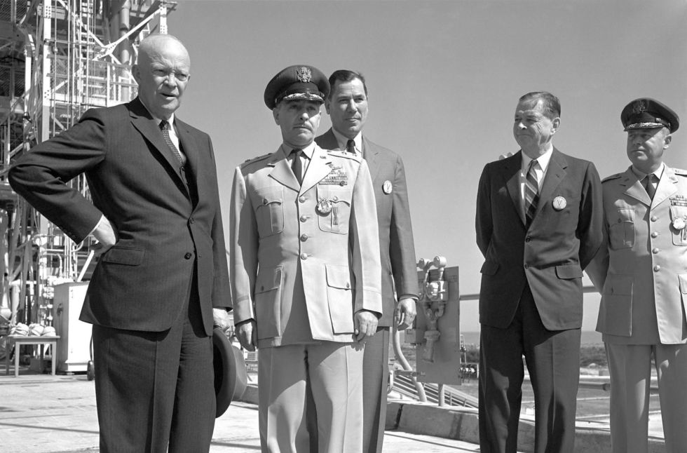 President Dwight D. Eisenhower visits Cape Canaveral in 1960.
