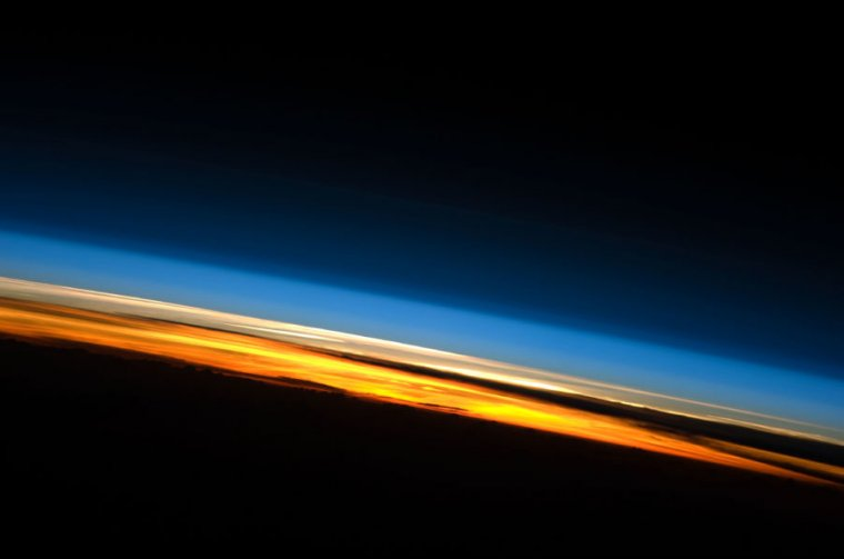 Sunset seen from the International Space Station.