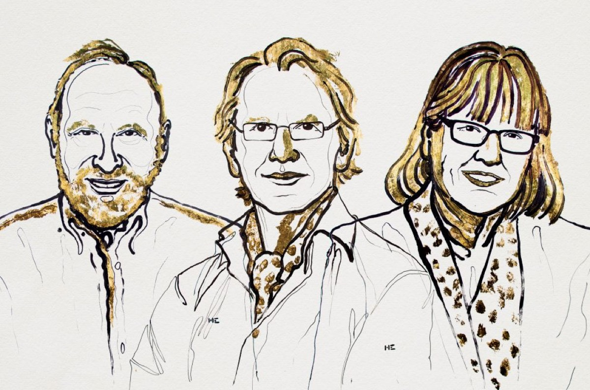Artist's rendering of this year's winners of the Nobel Prize in Physics.