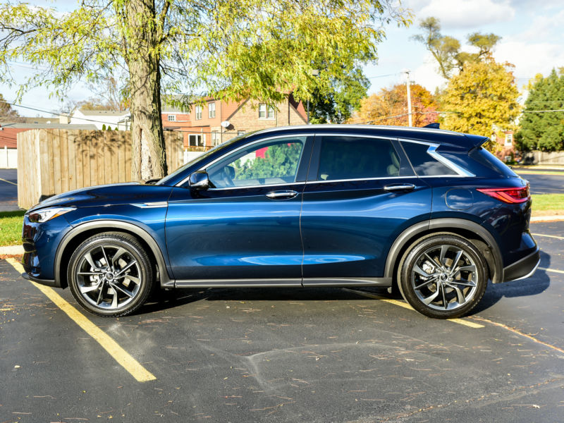 The Infiniti QX50 in Hermosa Blue.