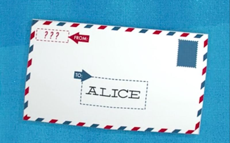 Stylized image of a mailing envelope.