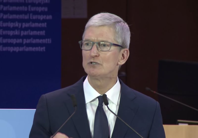 Apple CEO Tim Cook delivering a speech.