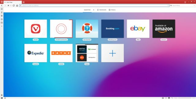 The default Vivaldi theme matches the top bar color to the color of the site you're on. As with everything else in Vivaldi, you can change this in the settings panel.