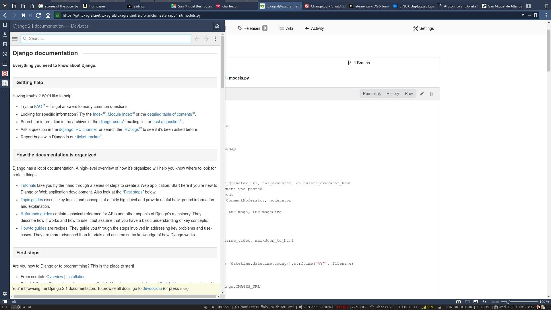Looking up things in Django's documentation (via DevDocs.io) while reviewing code, a handy use for Web Panels.