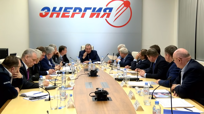 Dmitry Rogozin, head of Roscosmos, meets with company leaders at RSC Energia.