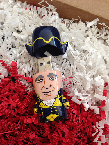 In 2012, Carl Malamud distributed physical and electronic copies of the DC Code. This shipment went to Waldo Jaquith. The George Washington-shaped USB thumb drive contained the digitized version from Malamud's scans of the physical edition.