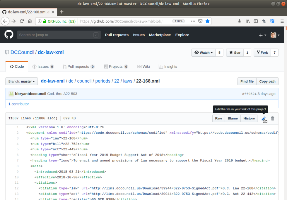 """This is an XML file for a DC law. On GitHub, the pencil icon begins the process of creating an edit to a file. This is at <a href=""""https://github.com/DCCouncil/dc-law-xml/blob/master/dc/council/periods/22/laws/22-168.xml"""">https://github.com/DCCouncil/dc-law-xml/blob/master/dc/council/periods/22/laws/22-168.xml</a>."""