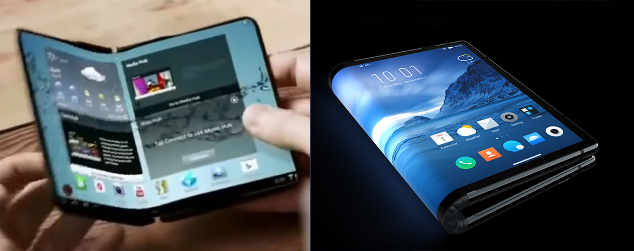 Left: Samsung's inside-display 2014 concept. Right: Royole's outside-display device. Which design is better?