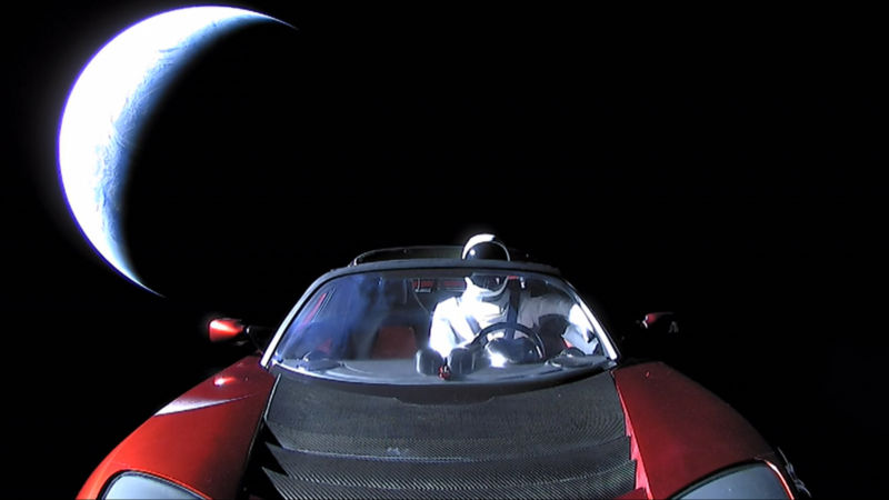 A launch-day photo of Starman leaving Earth's orbit.