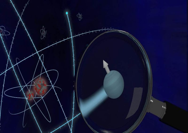Artists' conception of the search for an electron dipole.