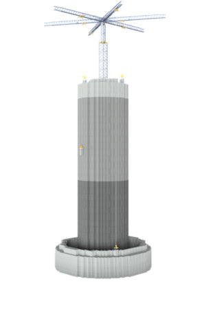 A mock-up of what Energy Vault's tower looks like.