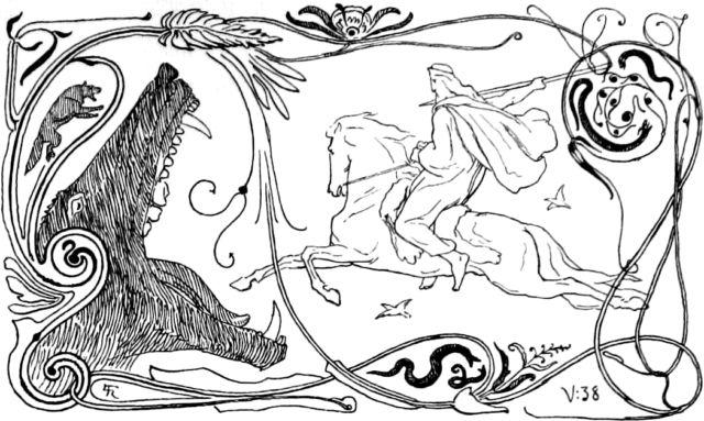 Odin rides forth to battle against Fenrir during Ragnarök.