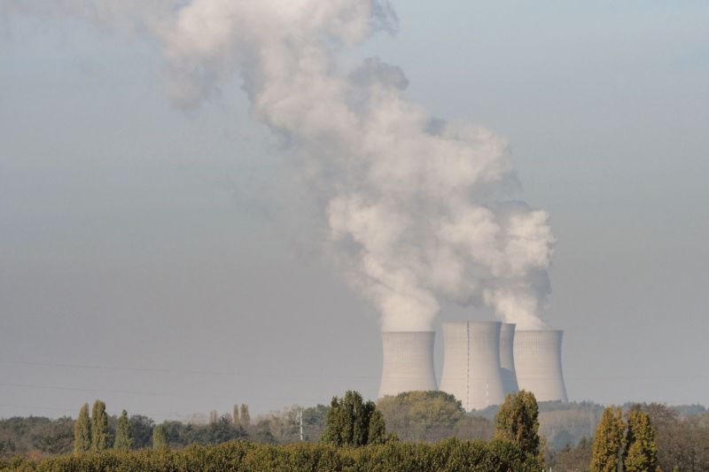 Four nuclear cooling towers