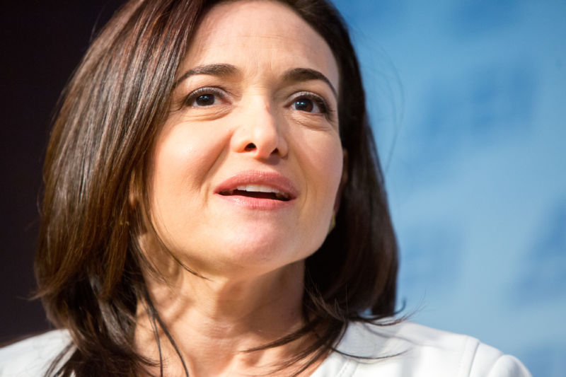 Facebook's Chief Operating Officer Sheryl Sandberg speaks at the conservative American Enterprise Institute in 2016. Sandberg has been the mastermind of Facebook's political strategy in recent years.