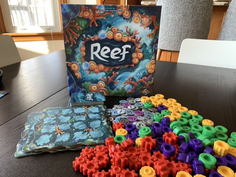Reef is a bright, inviting game with a lot of fun, colorful pieces.