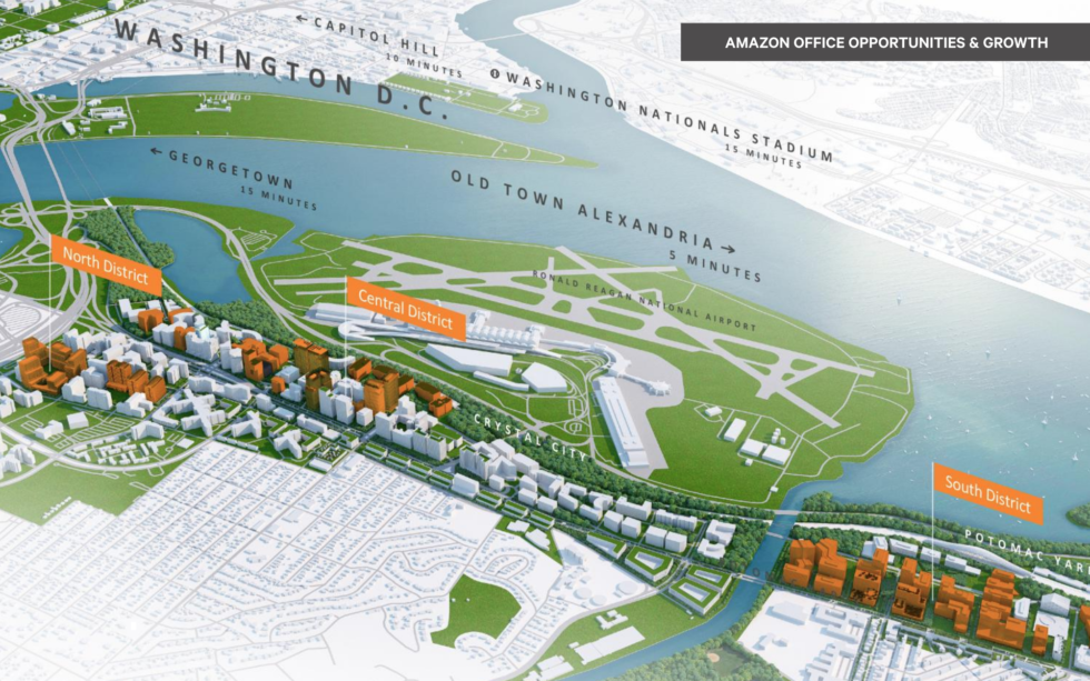 A page from Northern Virginia's submission to Amazon shows the areas for potential expansion of Amazon's new offices in the region.