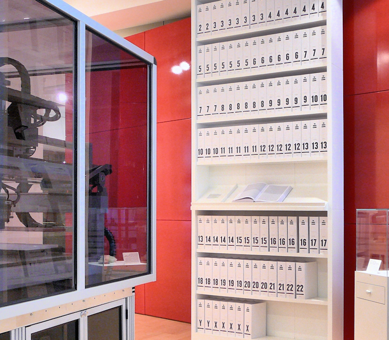 The first printout of the human genome to be presented as a series of books, displayed in the 'Medicine Now' room at the Wellcome Collection, London.
