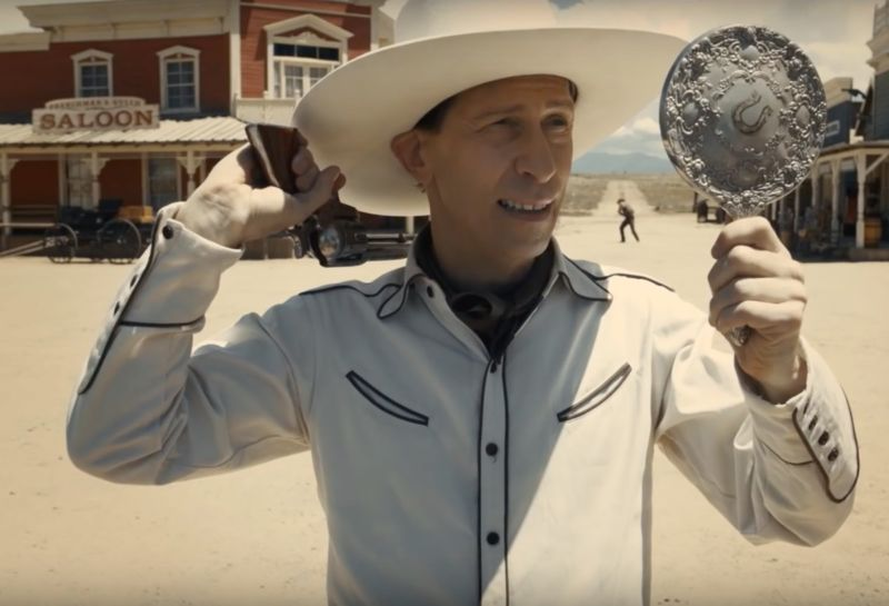 """Best not to play it too fancy"": Sharp-shooting songster Buster Scruggs (Tim Blake Nelson) takes aim."