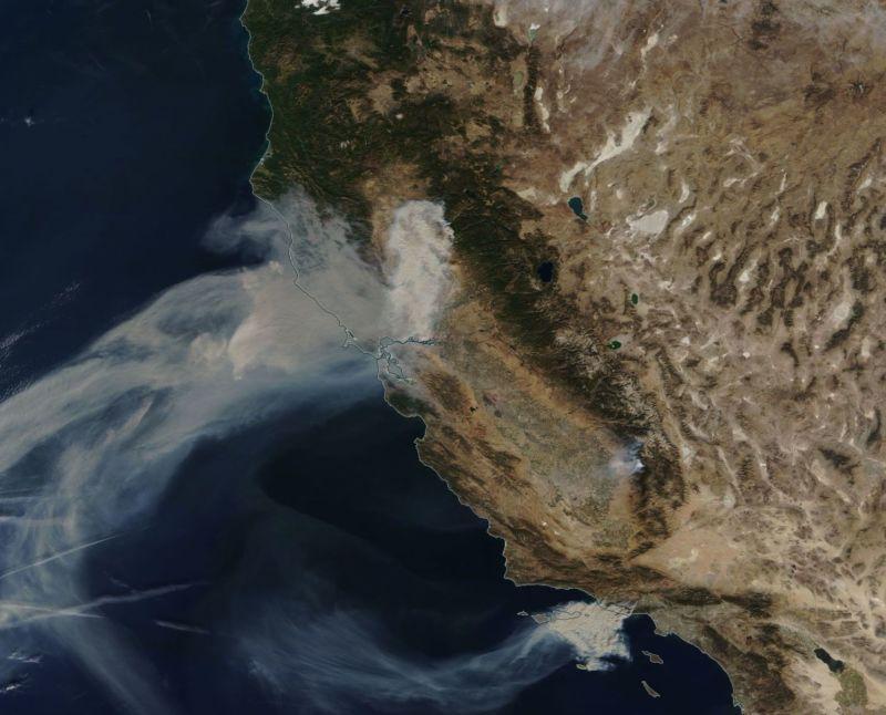 Wildfire smoke blows westward on November 9.