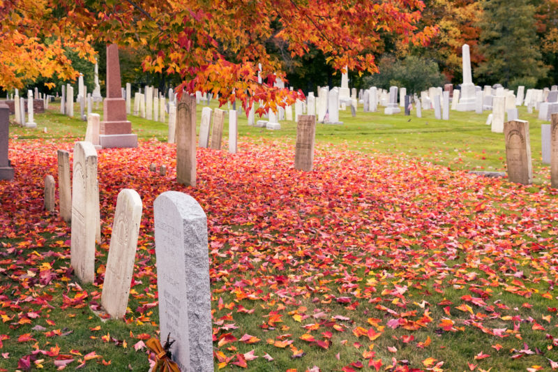 Cemetry in Craftsbur in Autumn Season, Common, Vermont, New England