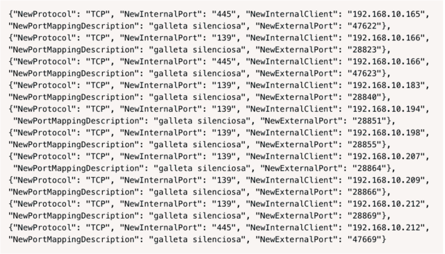 A sample of EternalSilence injections found on a single router.