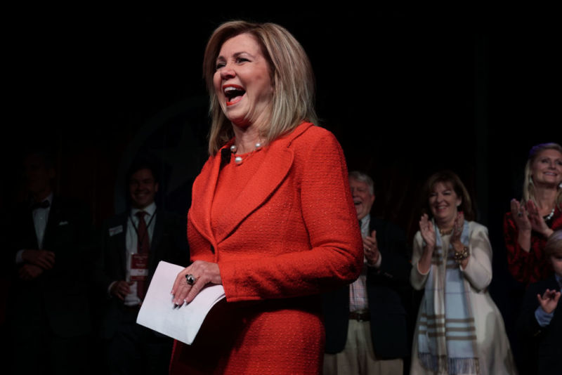 Marsha Blackburn celebrates Senate victory at an election night party.