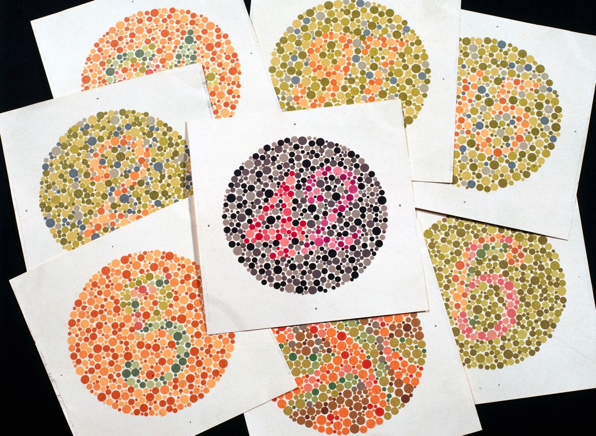 Eight classic Ishihara charts for testing color blindness, circa 1959.