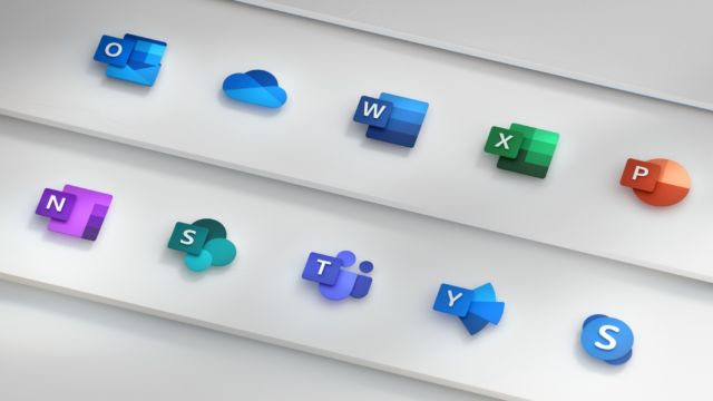 Top row, from left to right: Outlook, OneDrive, Word, Excel, PowerPoint. Bottom row, from left to right: OneNote, SharePoint, Teams, Yammer, Skype.