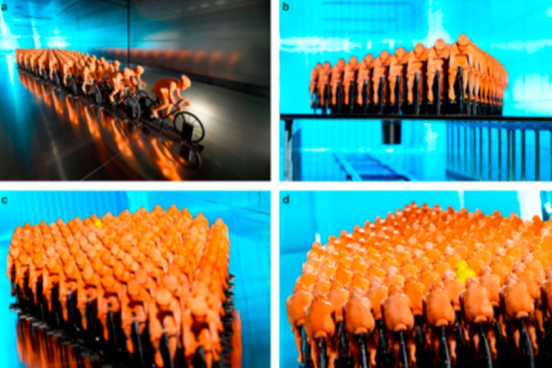 Modeling peloton riders in a wind tunnel.