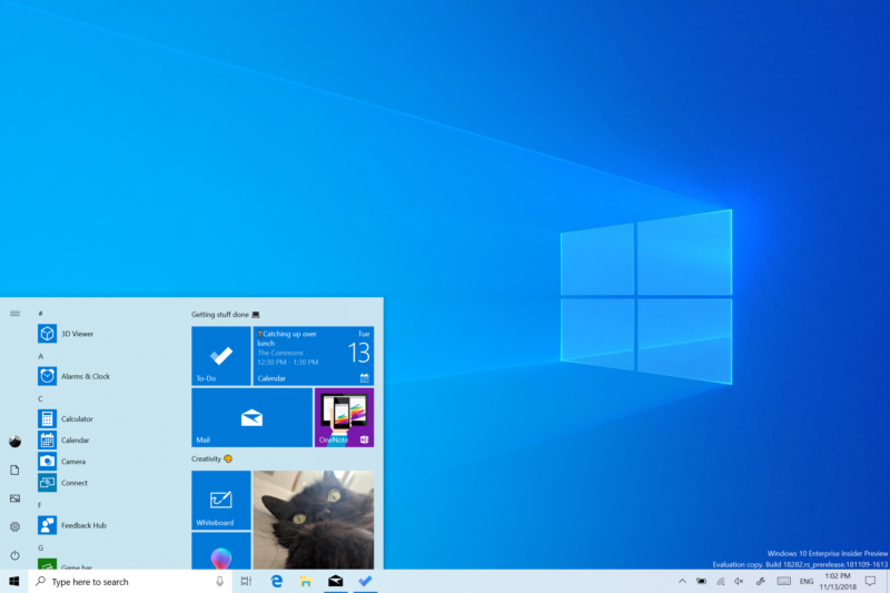 The new Windows 10 light theme.