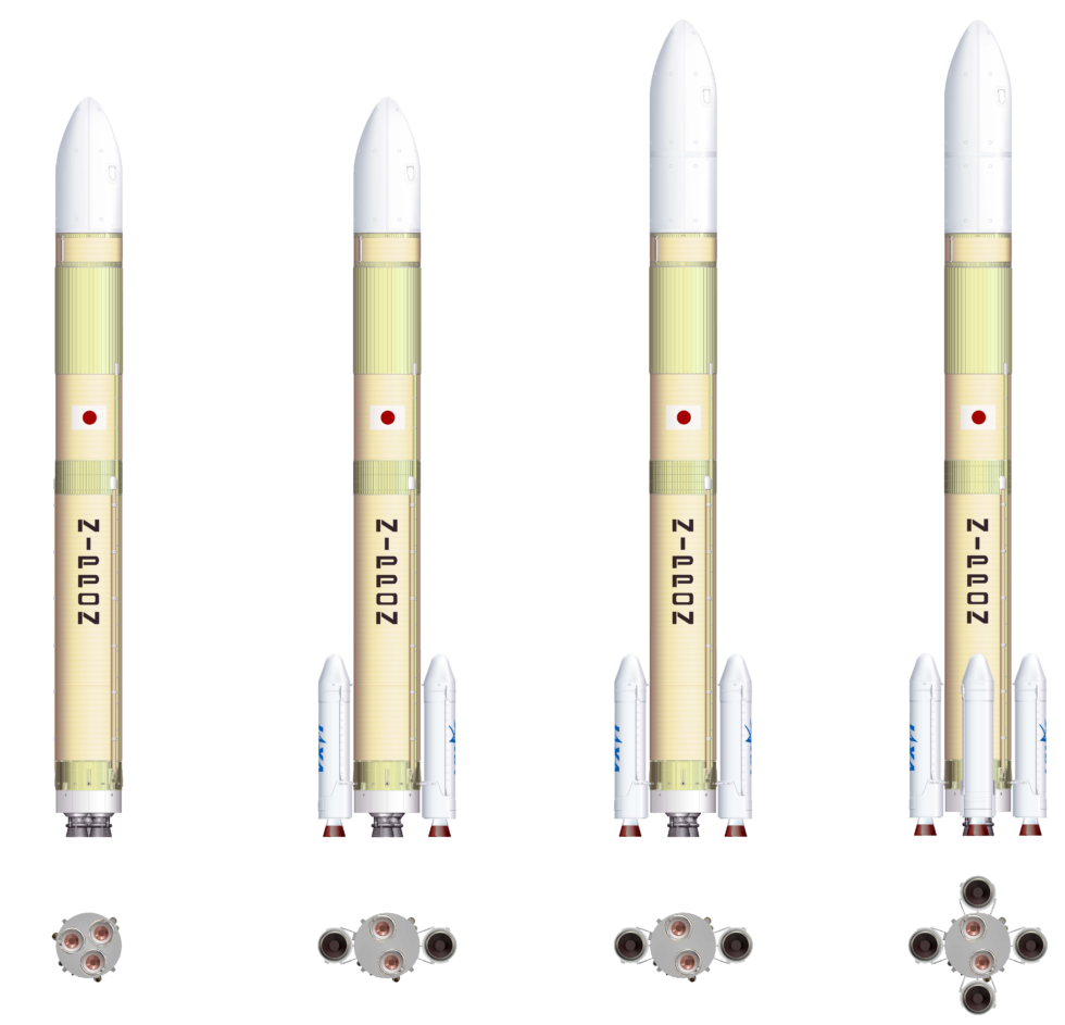 Four configurations of the H3 rocket, with and without boosters, and a larger second stage.