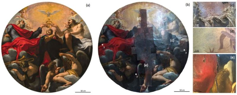 The middle image shows the painting as it now appears, with close-ups of four centuries of damage and wear on the right. The asterisks mark the locations of Caselli and her colleagues' samples.