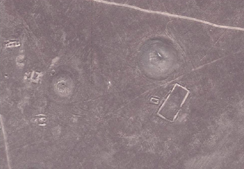 Satellite photo of two burial mounds