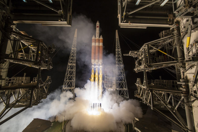 A Delta IV Heavy rocket last launched in August, 2018, with the Parker Solar Probe.