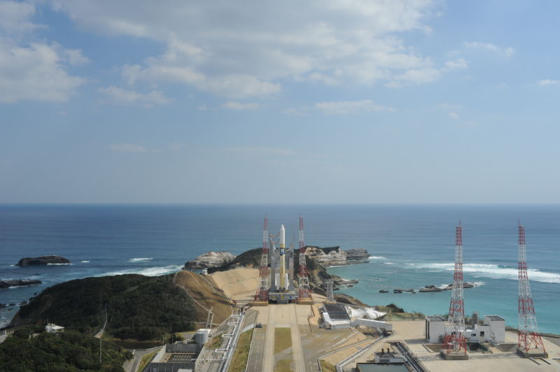 A Mitsubishi Heavy Industries H-2A rocket is seen at Tanegashima Space Center in October 2018.