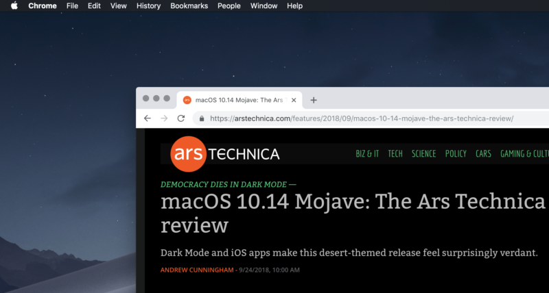 Google Chrome in macOS Mojave.
