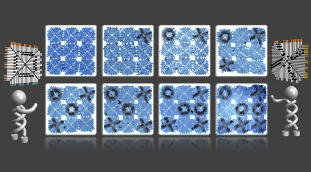 An artist's rendering of a game of tic-tac-toe played with DNA tiles.