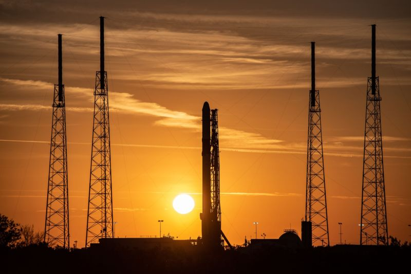 SpaceX's Falcon 9 rocket goes vertical on Wednesday morning in Florida.