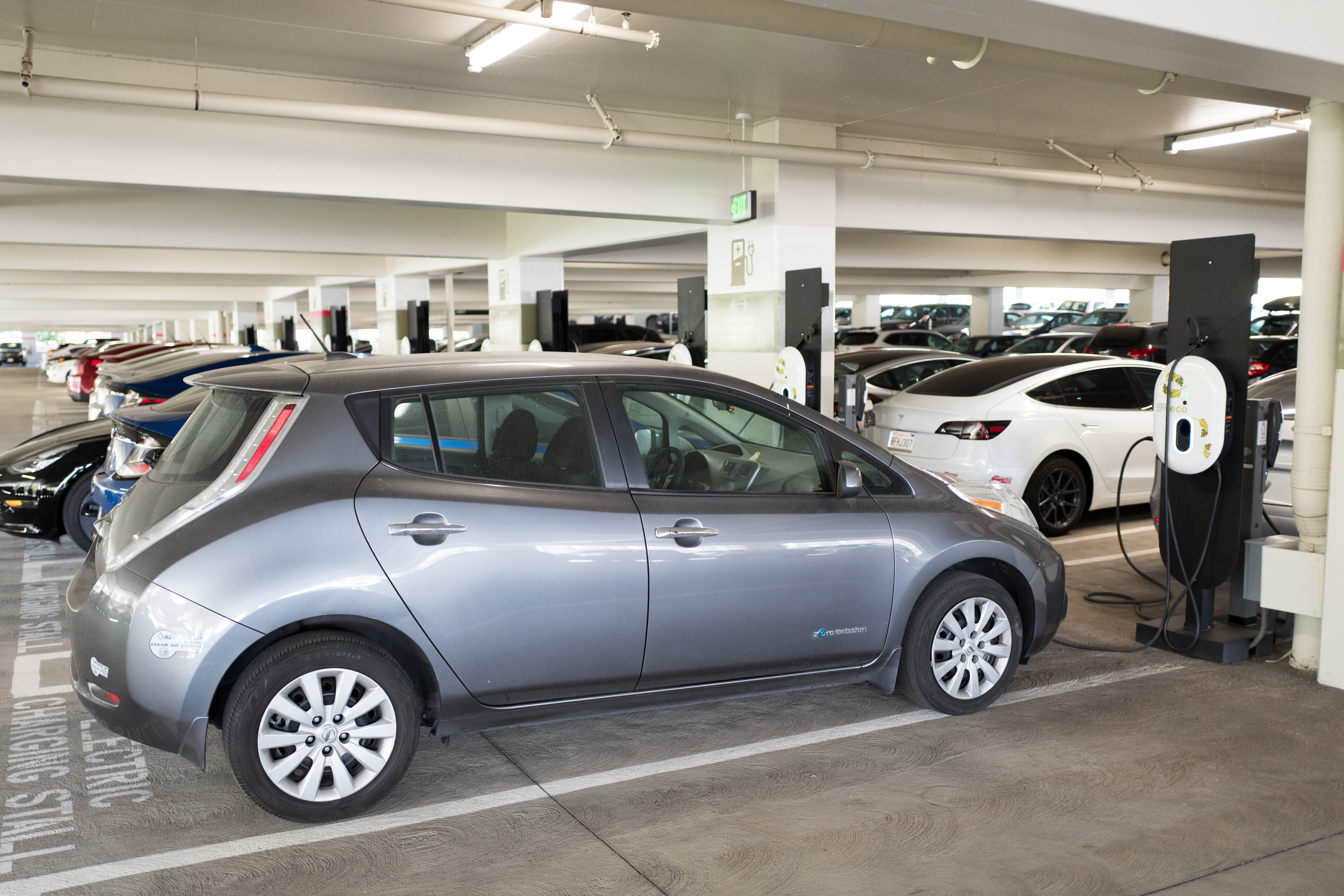 Enlarge Nissan Leaf Electric Car Plugged In And Charging At An Vehicle Station San Ramon California September 26 2018