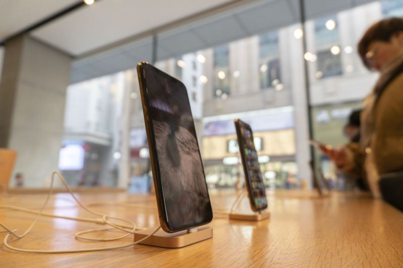 iPhones are seen at an Apple Store in Tianjin, China.