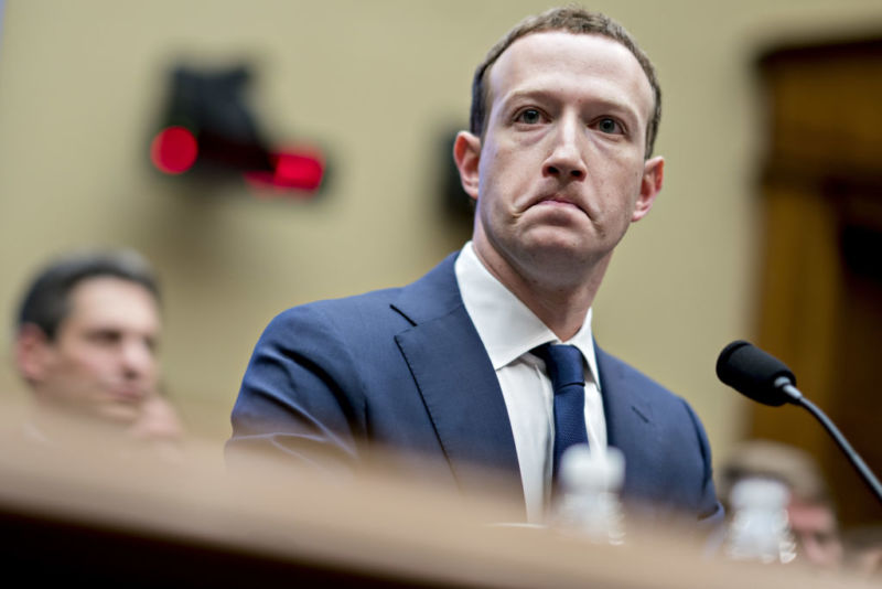 Facebook CEO Mark Zuckerberg testifying before Congress in April 2018. It wasn't his only appearance in DC this decade.