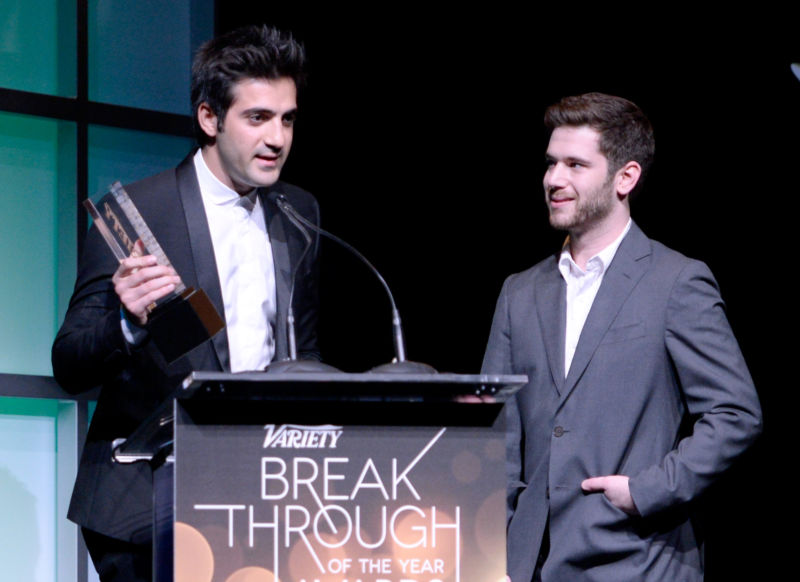 Honorees Rus Yusupov (L) and Colin Kroll accept the Breakthrough Award for Emerging Technology onstage at the Variety Breakthrough of the Year Awards during the 2014 International CES at The Las Vegas Hotel & Casino on January 9, 2014 in Las Vegas, Nevada.
