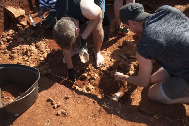 Archaeology students excavating a site near the visitor center of the Cradle of Humankind in Maropeng in September 2015.